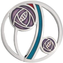 Mackintosh Purple Rose Brooch Cut Out Silver Plated Brand New Gift Packaging