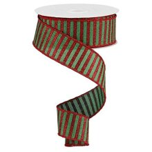 Red Emerald Green Glitter Stripe Wired Ribbon Christmas | 10 Yard x 15 inches