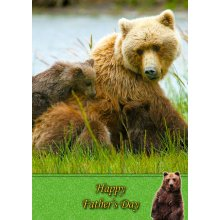 """Grizzly Bear Father's Day Greeting Card 8""""x5.5"""""""