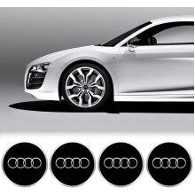 Audi Wheel Centre Caps - 69mm - Gloss Black