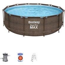 Bestway 12 ft x 39.5 Inch/ 3.66 m x 1 m Set Steel Pro MAX Deluxe Series Round Pools