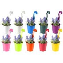 10 x Bright Colorful Metal Balcony Plant Flower Pot Hanging Vase Set of 10 Bright Colours Garden Décor