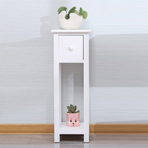 Slim Wood Table Bedside End side Telephone Table Storage Plant Stand