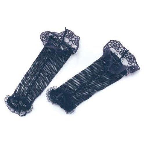Black Lace Spiderweb Gloves Fancy Dress Womens Smiffys Halloween