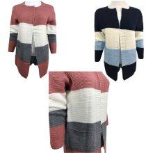 Long Sleeve Boyfriend Stripe Cardigan Tops