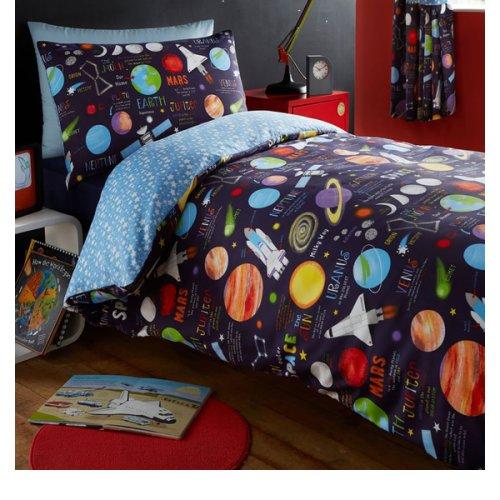 Kidz Club Planets King Duvet Cover and 2 Pillowcase Set Bedding for Boy's Kidz Sun Mars and Moon, Polyester-Cotton, Dark Blue