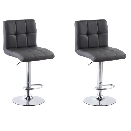 (PU Leather Grey) 2x Charles Jacobs Cube Style Adjustable Breakfast Bar Stool with Footrest Pair