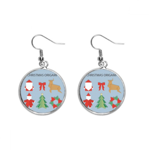 Red Abstract Christmas Origami Pattern Ear Dangle Silver Drop Earring Jewelry Woman
