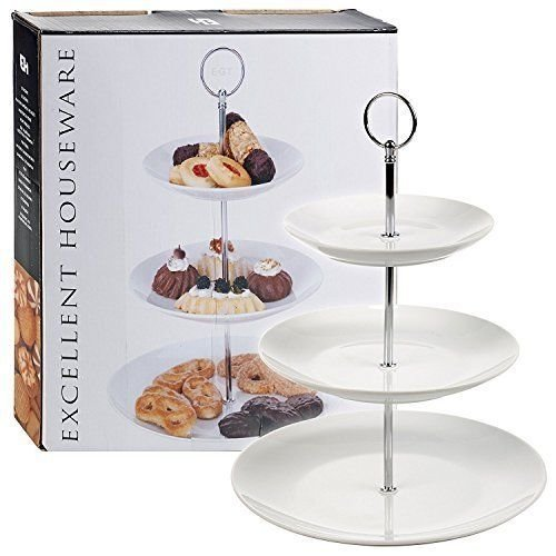 (3 Tier) Porcelain Coupe Cake Stand  - Choice of 2 or 3 Tier Ceramic Cake Stand