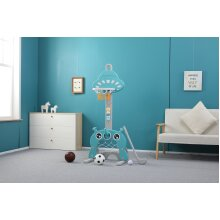 Kids Child UFO 4 in 1 Basketball Stand Hoop Football & Golf, Musical Bear Fun!! Turquoise