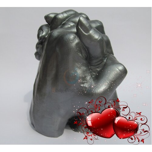 (Pewter) Adult Hand 3D Moulding Casting Kit   Couples, Family Casting   Valentine Day Gift Idea