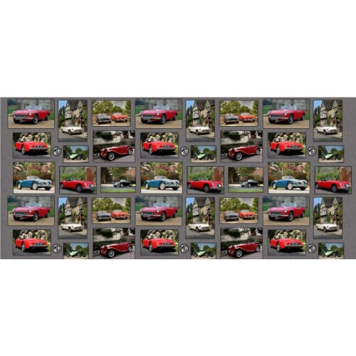 MG Classic Cars Patchwork 100% Cotton Quilting Panel Fabric