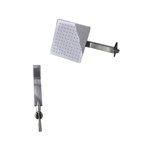 Complete square shower with shower arm kit and shower head and hand shower