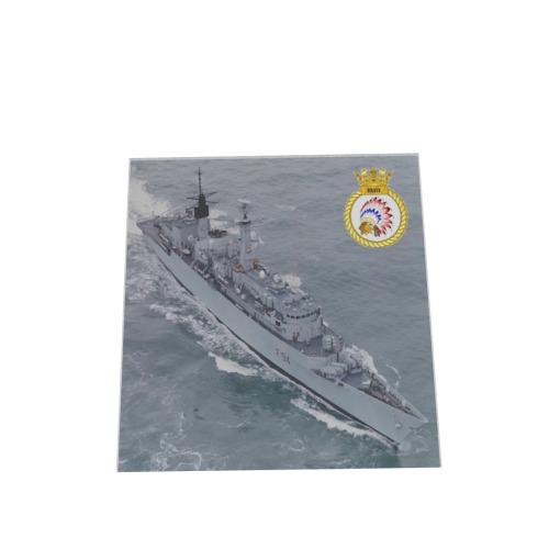 SET OF 4 HMS BRAVE F94  GLASS COASTERS