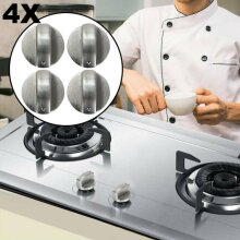 4X Silver 6mm Universal Gas Stove Knobs Cooker Oven Hob Control Knobs