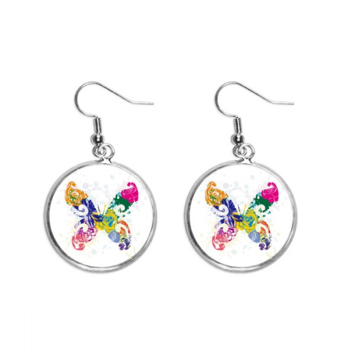 Colourful Butterfly with Floral Pattern Graffiti Ear Dangle Silver Drop Earring Jewelry Woman