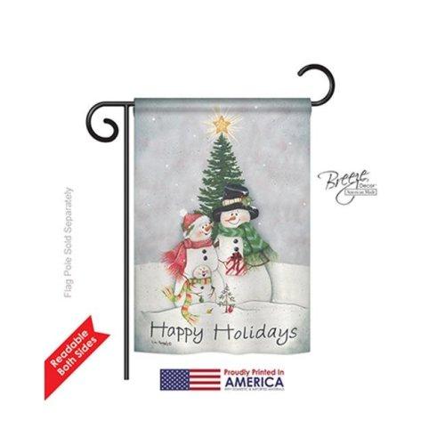 Breeze Decor 64094 Christmas Snowman Family 2-Sided Impression Garden Flag - 13 x 18.5 in.