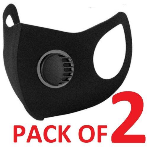 2 Breathable Face Mask Washable Black Reusable Filter Valve Mask