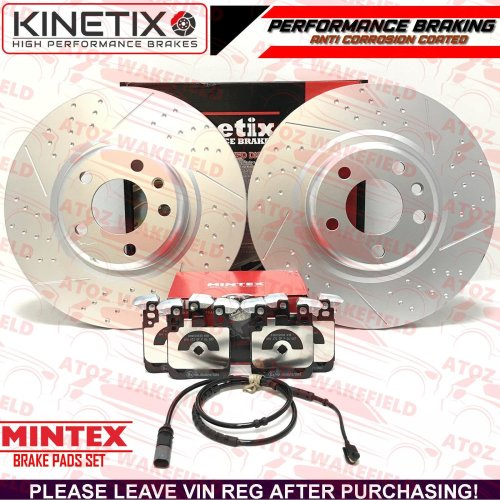 FOR BMW M135i M SPORT REAR DIMPLED GROOVED BRAKE DISCS MINTEX PADS SENSOR 345mm