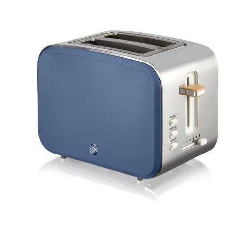Swan 2 Slice Nordic Toaster 900W Soft Touch Housing Stainless Steel Matt Finish - Blue