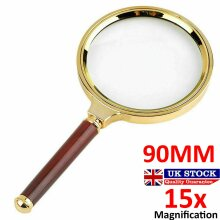 Large 90mm Handheld Magnifying Glass 15x Magnifier Loupe Reading