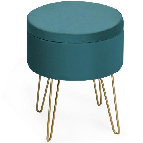 Round Velvet Storage Footstool Ottoman Makeup Dressing Vanity Seat