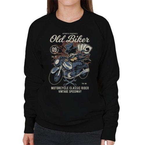 (X-Large) Old Biker Tophat Women's Sweatshirt