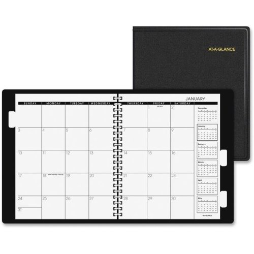 At A Glance AAG7029605 Monthly Planner 5-Year, Simulated Leather - Black