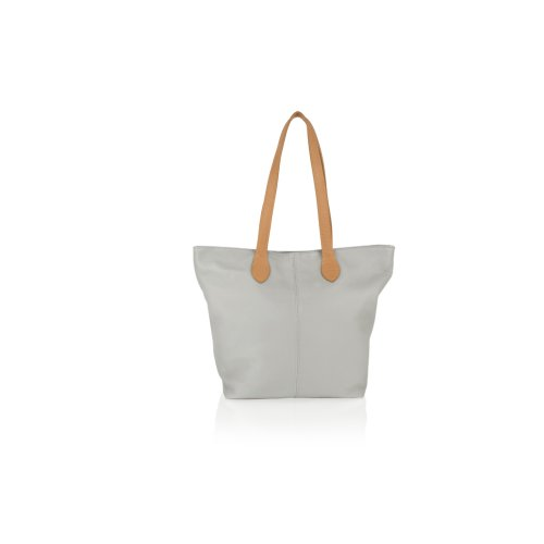 """Woodland Leather Light Grey Tote Shopping Bag 14.5"""" Central Zip Carry Handle"""