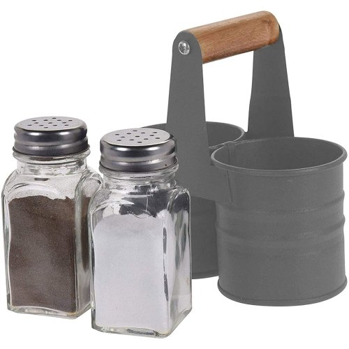 GEEZY Glass Salt and Pepper Shaker Set with Metal Tin Storage Holder