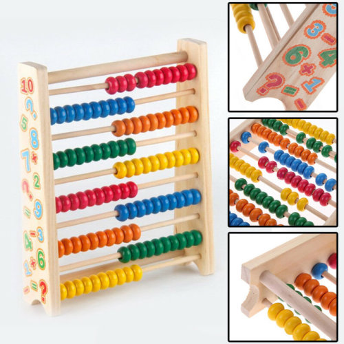 20cm Wooden Bead Abacus Counting Frame Kids Educational Maths Toys