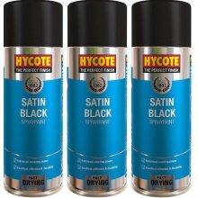 Hycote Satin Black Spray Paint - 400ml x 3