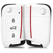 kwmobile VW Golf 7 MK7 Car Key Cover - Silicone Protective Key Fob Cover for VW Golf 7 MK7 3 Button Car Key - White