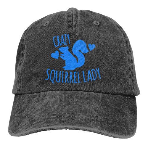 Crazy Squirrel Lady Blue Denim Baseball Caps