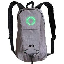 eelo Cyglo Safety Backpack For Cycling With Rear LED Signal Indicators. Reflective Rucksack with Flashing Direction Lights. - Grey (Lite)
