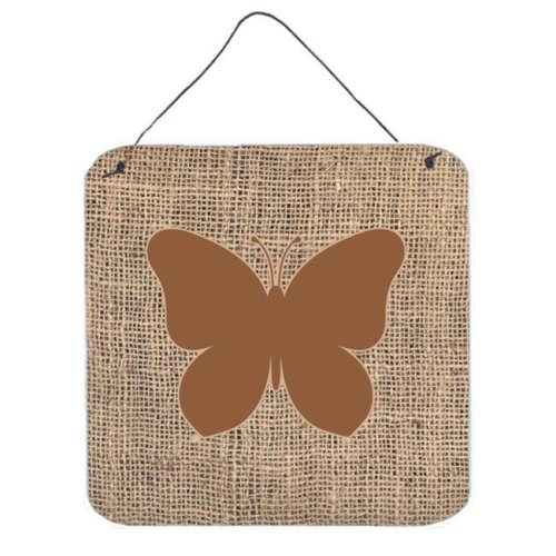 Butterfly Burlap And Brown Aluminium Metal Wall Or Door Hanging Prints