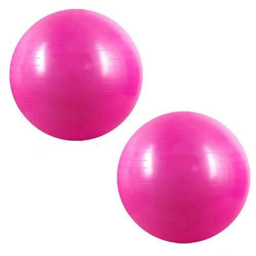 Kabalo Pink 65cm Anti Burst Gym Exercise Swiss Yoga Fitness Ball for Pregnancy Birthing, etc (including pump) Double Pack