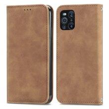 OPPO Find X3 Pro Case Premium PU Leather Folio Cover Magnetic -Brown