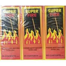 780 MATCHSTICKS (65 PCS X 12 MATCHBOXES) SUPER FIRE SAFETY MATCHES EXTRA LONG