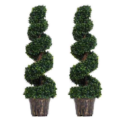 Outsunny 2 Pack Artificial Boxwood Spiral Tree Decorative Plant w/ Nursery Pot