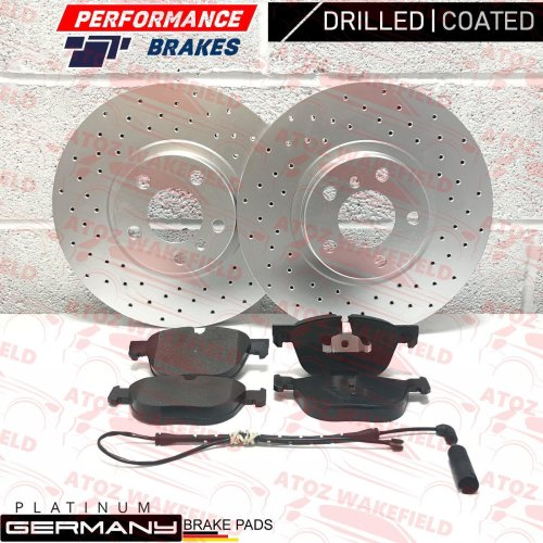 FOR BMW X5 2013- FRONT CROSS DRILLED COATED BRAKE DISCS PADS WIRE SENSOR 348mm