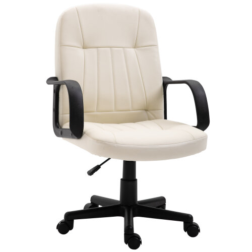 HOMCOM PU Leather Office Chair Swivel Home Mid-Back Computer Desk Chair, Cream