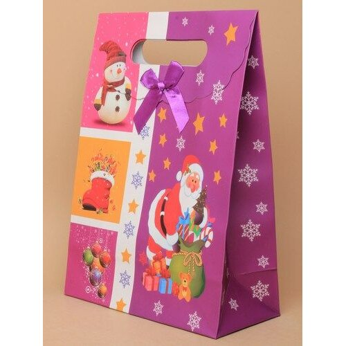 Christmas Print Gift Box Bag with self Closing Top, Santa Snowman Pictures Size 27x19x9cm