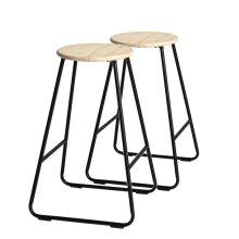 2x Wooden Bar Stools Breakfast Kitchen Island Counter Dining Chair Black / Pine