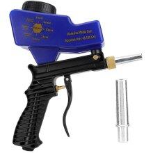 Pneumatic Sandblasting Gun, Portable Gravity Type Anti-Rust Pneumatic Sandblasting Gun Sand Blaster Remove Rust Spot Blue