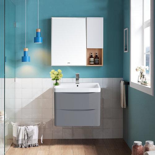 Wall Hung 2 Drawer Vanity Unit Basin Bathroom Furniture 600mm Gloss Grey
