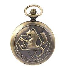 Fullmetal Alchemist Pocket Watch With Chain Box Cosplay Necklace Pandant Anime Merch(Bronze)