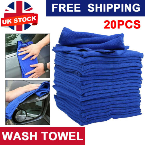 20x New Detailing Cleaning Car Soft Cloths Microfibre Absorbant Blue