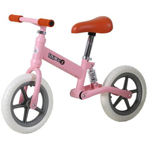 HOMCOM Kid Balance Bike ChildrenBicycle Adjustable Seat 2-5 Years No Pedal Pink