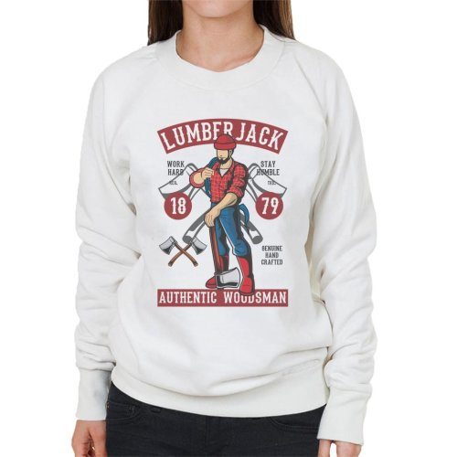 (X-Large, White) Lumberjack Authentic Woodsman Women's Sweatshirt